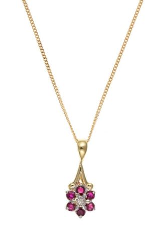 Cluster Yellow Gold Ruby And Diamond Necklace